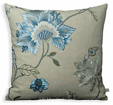 GP & J Baker Cymbeline Blue Embroidered Floral Fabric Sofa Cushion Pillow Cover