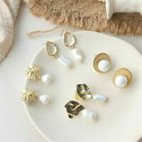 Elegant Women Metal Pearl Shell Round Chic Geometric Resin Hoop Dangle Earrings
