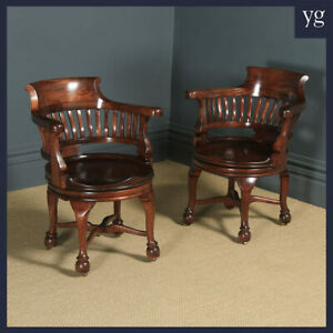 Pair of Antique English Victorian Mahogany Revolving Office Desk Arm Chairs