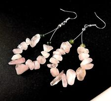 1 Natural Pair of Rose Quartz Gemstone Chips Hoop Dangle Earrings - # B35