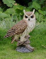 LONG EARED OWL ON STUMP - LARGE - Life Like Figurine Statue Home / Garden New