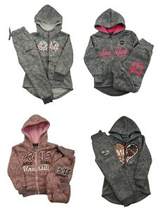Girls Hoodie Tracksuit | Grey Pink | Size 4 Years - 14 Years | UK Based