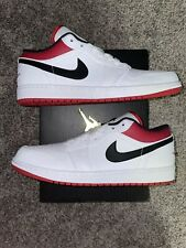 Air Jordan 1 Low White University Red Black 553558-118 Men's Size 10