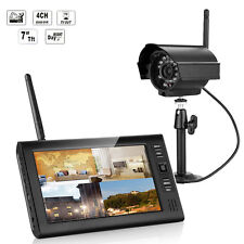 "Wireless 7"" TFT LCD 4CH Quad DVR Home Security System Night Vision Camera Video"
