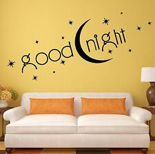 Bedroom Wall Stickers Quote Goodnight Romance Vinyl Decal (ig1408)