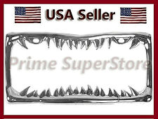 NEW CHROME METAL CUSTOM SHARK JAWS /TEETH LICENSE PLATE FRAME TAG COVER / HOLDER