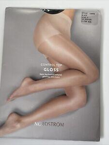 Nordstrom Pantyhose GLOSS Sheer Leg Control Top Size C Black 20 Denier B 1000B