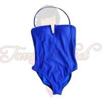 La Blanca Women's Blue Halter One Piece Swimsuit High Cut Ribbed Swimwear Size 4