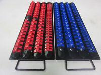 "160pc RED / BLUE CLIPS 17-1/2""L SOCKET TRAY HOLDER ORGANIZER 1/4"" 3/8"" 1/2"" RAIL"