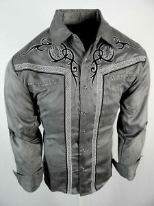Mens Western Rodeo Shirt Gray All Suede Faux Stretch Embroidered Cowboy Snap Up