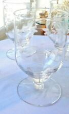 Set of 2 Crystal Etched Optic Juice Glasses