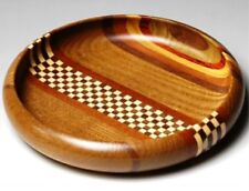 Japanese Yosegi zaiku Muku Hakone Confectionery Tray Wooden Stripe Check