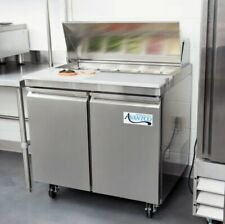"""New listing Avantco Ss-Pt-36 36"""" 2 Door Stainless Steel Refrigerated Sandwich Prep Table"""