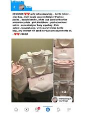 Pasito a Pasito Nappy Changing Bag And Accessories Pink/embrodiery/ribbon
