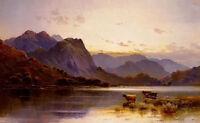 "Oil painting Alfred Fontuale DeBreanski - cattle at dusk by river landscape 36"""