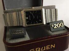 Gruen Genuine Diamonds Ladies Vintage Quartz Watch SS Expansion W/ Box-New Batt.