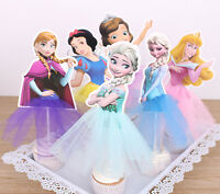 6x Disney Princess Party Cupcake Cakes Birthday Decorating Topper Picks Flag Set