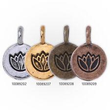20 Round Metal Flower Charm Lotus pendant Vintage Charms  Yoga Charms 10mm
