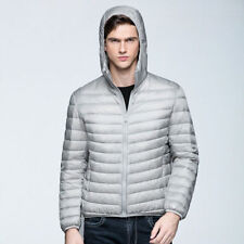Packable Hoodie Style Down Jacket Men Winter Ultralight Outerwear Coat 2XL Grey