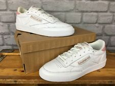 REEBOK LADIES UK 5 1/2 EU 38.5 WHITE PINK LEATHER CLASSIC CLUB C 85 TRAINERS