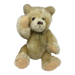 """T.L.Toys 15""""  Brown Teddy Bear Plush With Gold Rope Bow Tie, Bendable Joints"""