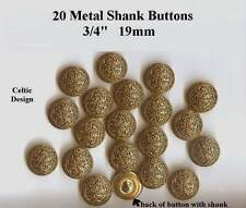 "20 Celtic Metal Buttons 3/4"" Antique Gold Brass Shank 19mm- Costumes Theater"