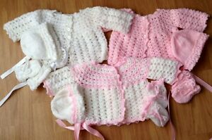 Baby Girl New Set Crochet & Hand Knitted Cardigan, Hat, & Mitts (4 PIECE SET)