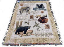 Great Outdoors ~ Black Bear/Gray Wolf/Eagle/Moose Tapestry Afghan Throw