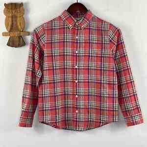Janie and Jack Linen/Cotton blend plaid button shirt