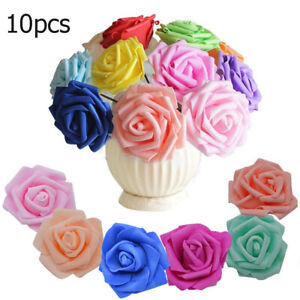 Artificial Foam Roses Flowers With Stem Wedding Bride Bouquet Party Decor,