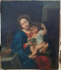 tableau huile toile ancienne vierge à l'enfant école Française