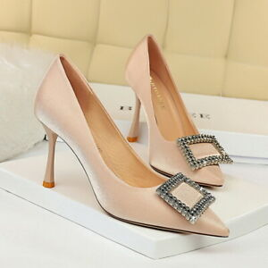 Women's Pumps Satin Pointed Toe Rhinestone Buckle High Heels Bridal Party Shoes