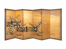 """Japanese A Pair 18th C Hand painted Folding Screen """" Flowers and Fence"""" Part One"""
