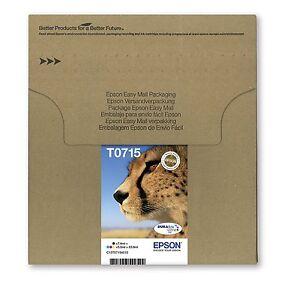 Original Epson T0715 DuraBrite Ultra Cheetah 4 Colour Multipack  Ink Cartridges,