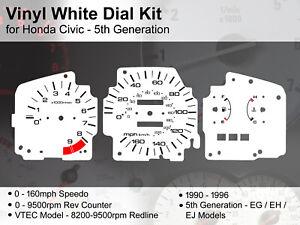Honda Civic 5th Gen EG (1990 - 1996) - 160mph / 9500rpm - Vinyl White Dial Kit