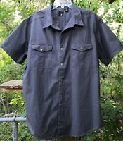 Retro J.Ferrar Men's XL 17-17 1/2 Casual Work Shirt Pewter Gray Metal Btns 2 Pkt
