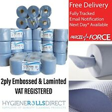 48 rolls (8 PACKS) x Blue Centrefeed Embossed 2ply Wiper Paper Towel 85M SIRIUS