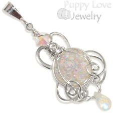 Pastel Fairy Aura Drusy Wire Wrapped Sterling Pendant with Moonstone, Handmade