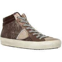 PHILIPPE MODEL 'Las Vegas' Women's Designer Brown Leather Sneakers - size UK 4