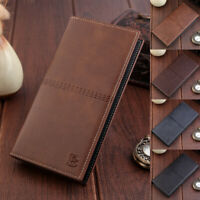 New Mens PU Leather Long Wallet Bag Bifold Purse Cell Phone Card Holder Clutch