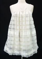 Vintage 60s White Tiered Lace Double Chiffon Sheer Babydoll Sissy Nightgown S