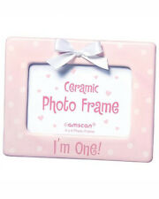 """""""I'm One!"""" Ceramic 4"""" X 6"""" Picture Frame - Pink with White Ribbon"""
