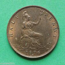 1876h REGINA VITTORIA half-penny UNC UNCIRCULATED sno30518