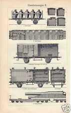 Antique print train trains Railroad car Rail wagon trein  canon