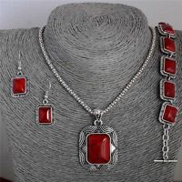 Charm Women Lady Red Turquoise Vintage Jewelry Set Bracelet Earrings Necklace