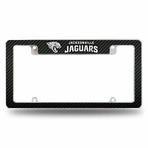 Jacksonville Jaguars Chrome Metal License Plate Frame with Carbon Fiber Design