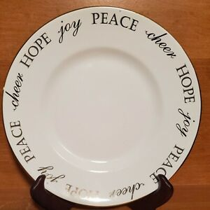"""Pier 1 HOLIDAY PEACE & JOY Salad plate, 8 5/8"""", Gold Back, Excellent"""
