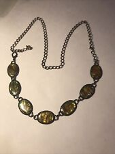 Vintage Boho Style Mother of Pearl and Metal Chain Link Belt