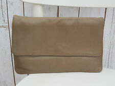 Soft Leather Tan Brown Camel  Clutch Large Purse Bag Vintage