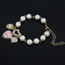 Bracciale donna dorato cuore strass cristallo sintetico / Golden heart bracelet